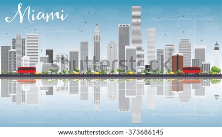 miami skyline with gray