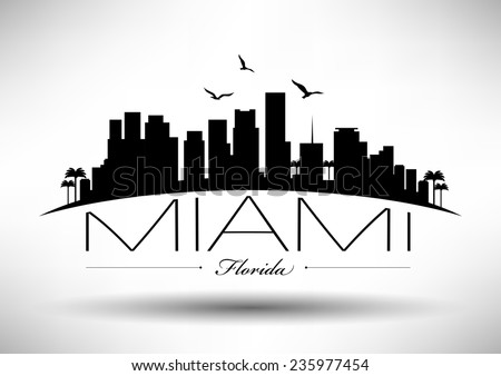 miami skyline with typography