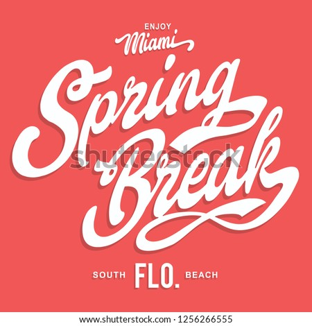 Miami spring break typography, tee shirt graphics, vectors
