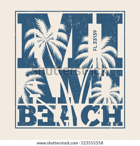 miami tee print with palm trees