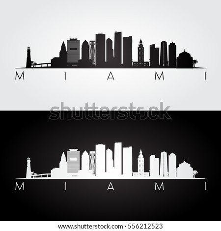 miami usa skyline and landmarks