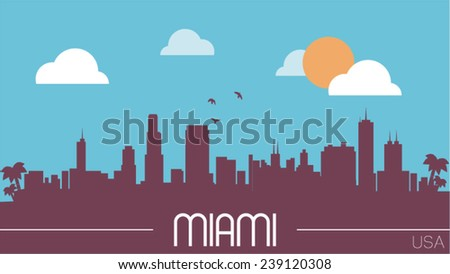 miami usa skyline silhouette