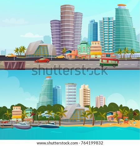miami waterfront houses skyline ...