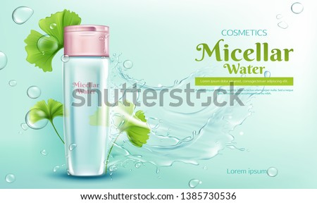 Micellar water with ginkgo biloba extract for makeup cleaning 3d realistic vector advertising banner, poster. Cosmetic product bottle with pink cap, green leaves, water splash and bubbles illustration