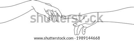 Michaelangelo creation of adam, adam and god hand, line art, vector drawing illustration, elegant reaching connection concept Stok fotoğraf ©