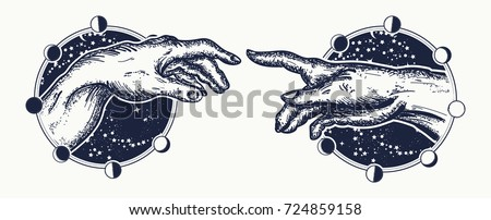 Michelangelo God's touch. Human hands touching with fingers tattoo and t-shirt design. Gods and Adam, symbol of spirituality, religion, connection and interaction