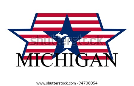 Michigan state map, flag and name.