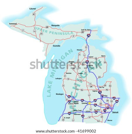 Michigan state road map with Interstates, U.S. Highways and state roads.