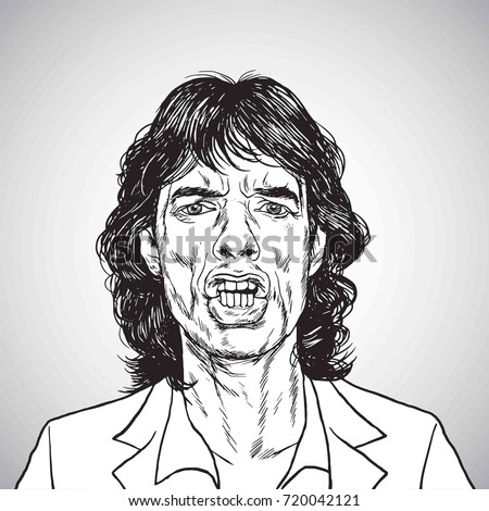 mick jagger portrait hand drawn