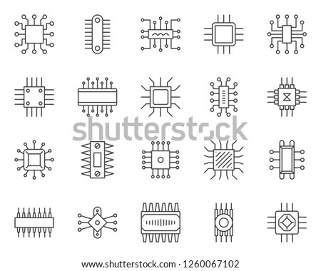 micro chip thin line icon set  outline sign kit of cpu  pc component linear