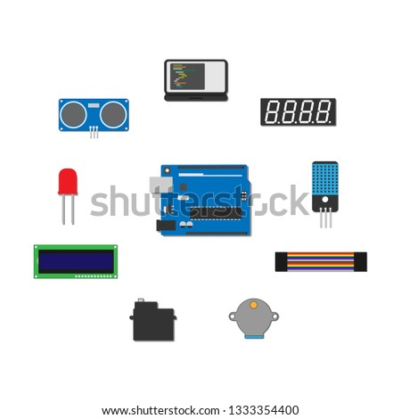 Micro-controller Electronic Board, Electronic components View - Vector