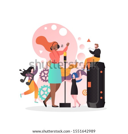 Micro male and female characters dancing and listening to song of girl singing with microphone, vector illustration. Restaurant singer, live music concert.