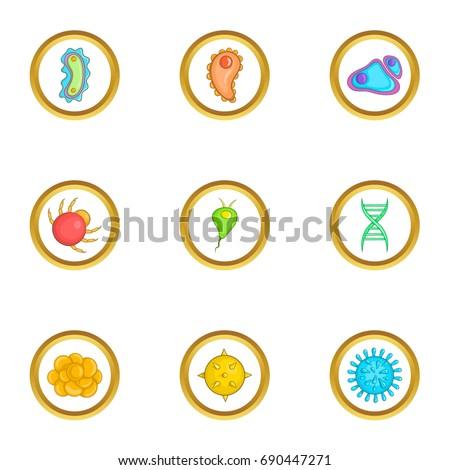 micro organism icons set
