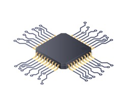 Micro processor. Circuit board isolated on white background. Isometric vector illustration
