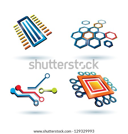 micro scheme, cpu and other elements icons set