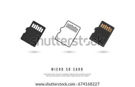 Micro sd memory card icon isolated on white background