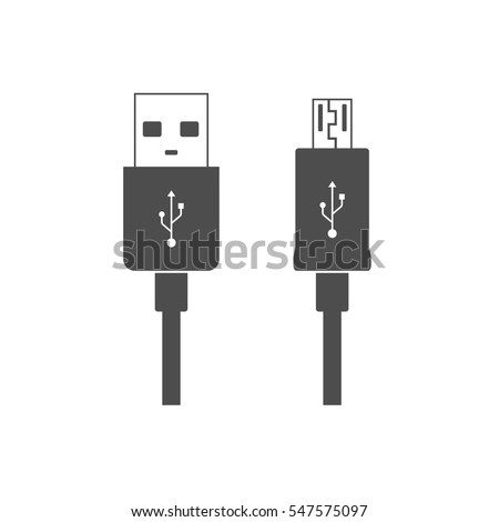 micro usb cables icon isolated