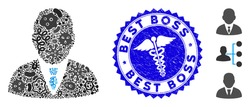 Microbe mosaic boss icon and rounded grunge stamp seal with Best Boss caption and health care sign. Mosaic vector is created from boss icon and with scattered amoeba items.