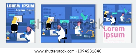 Microbiologist studying new virus and cultivating a petri dish whit inoculation loops, beside a microscope and tools of laboratory. Vector illustration of biomedical engineering. - stock vector