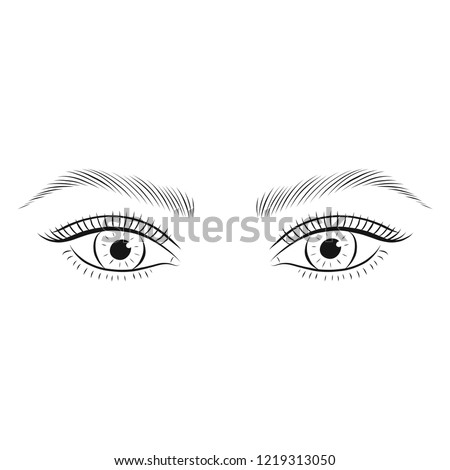 Microblading eyebrows. Woman's eyes and eyebrows. Vector illustration.