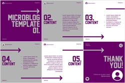 Microblog carousel slides template for social media with flat purple and grey, arrows theme.