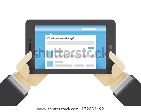 Microblogging service (Twitter etc.) on tablet computer in businessman blogger hands. Concepts: social media networking services in modern business.