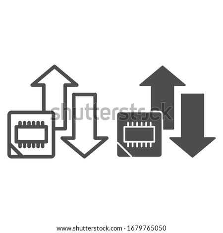 Microchip and arrows line and solid icon. Processor bus data peak throughput symbol, outline style pictogram on white background. Benchmarking sign for mobile concept and web design. Vector graphics