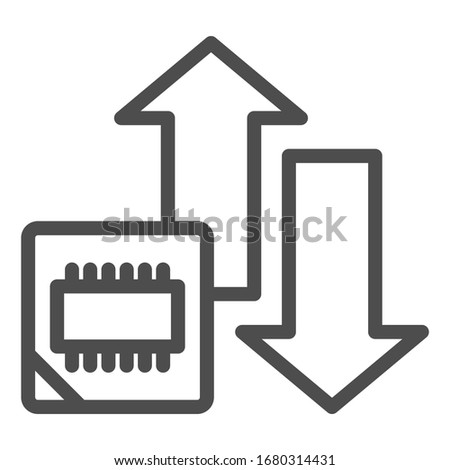 Microchip and arrows line icon. Processor bus data peak throughput symbol, outline style pictogram on white background. Benchmarking sign for mobile concept and web design. Vector graphics