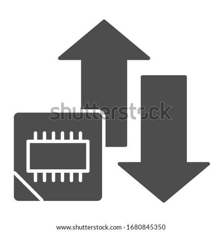 Microchip and arrows solid icon. Processor bus data peak throughput symbol, glyph style pictogram on white background. Benchmarking sign for mobile concept and web design. Vector graphics