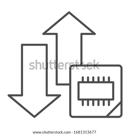 Microchip and arrows thin line icon. Processor bus data peak throughput symbol, outline style pictogram on white background. Benchmarking sign for mobile concept and web design. Vector graphics