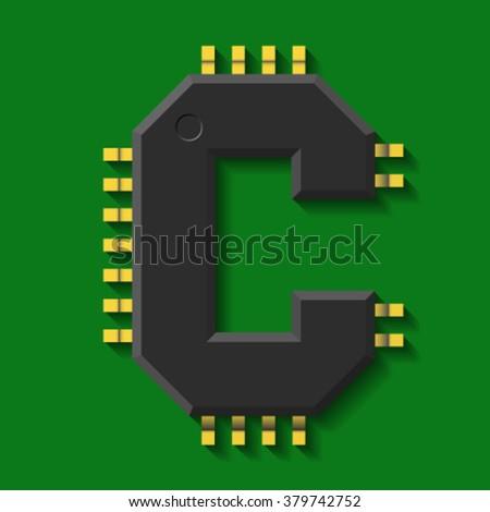 microchip core  font  letter c