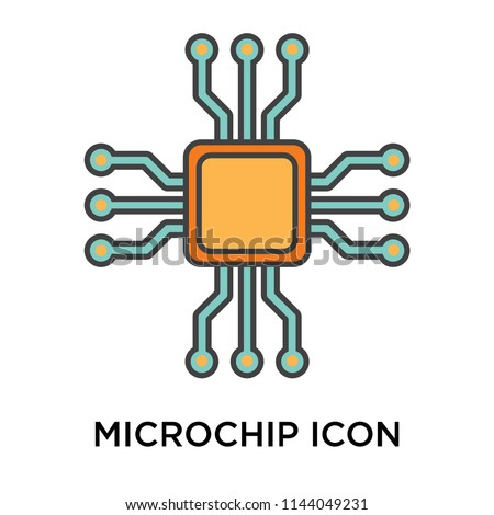 Microchip icon vector isolated on white background for your web and mobile app design, Microchip logo concept