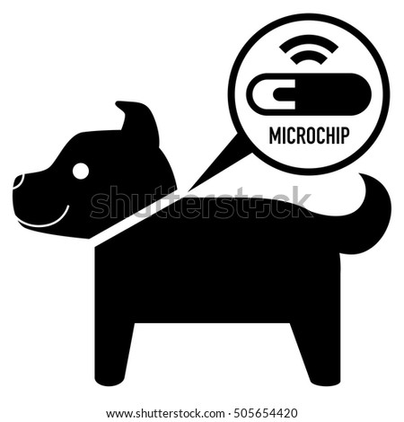 microchip in dog sign icon
