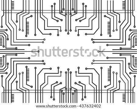 microchip line technology and space abstract background