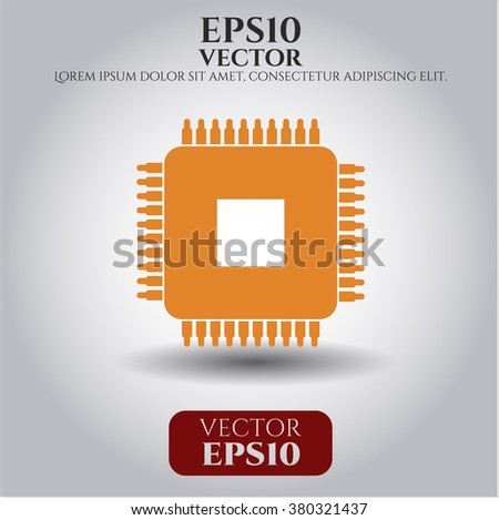 Microchip, microprocessor icon vector illustration
