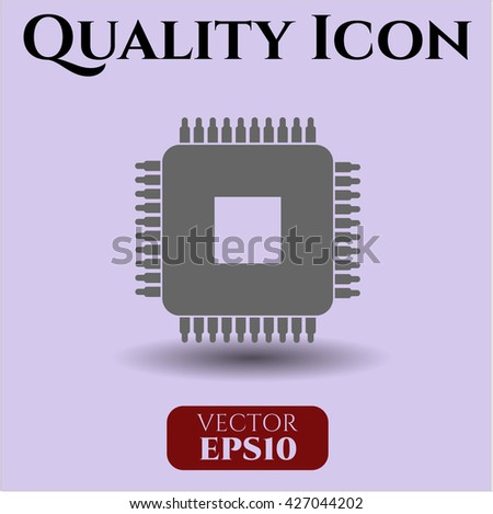 microchip microprocessor icon vector symbol flat eps