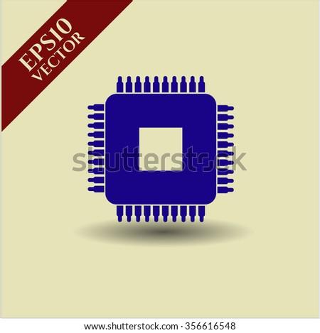 Microchip, microprocessor vector icon