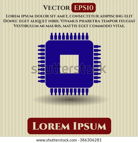 Microchip, microprocessor vector icon