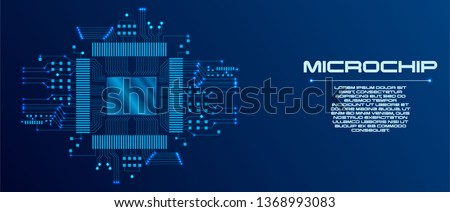 Microchip processor with lights on the blue background. AI. Circuit board. Technology background. Central Computer Processors CPU concept. Motherboard digital chip.