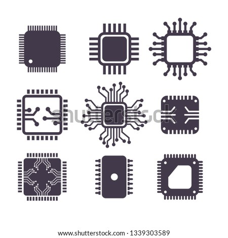 Microchip thin line icon set. Outline web sign kit of cpu.