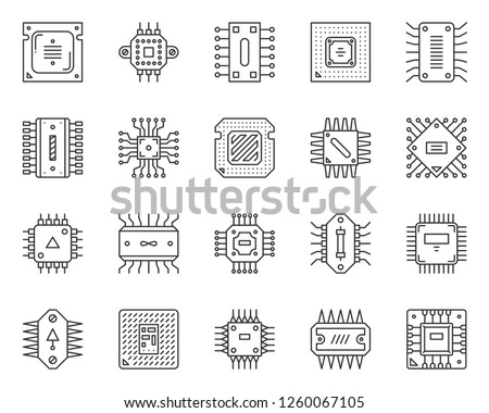 Microchip thin line icon set. Outline web sign kit of cpu. PCB linear icons of abstract circuit, hi tech electronics technology. Micro processor simple black symbol on white. Vector Illustration