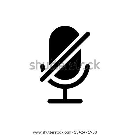Microphone Audio Muted illustration. Mute Microphone icon. Retro microphone icon
