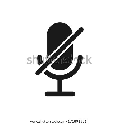 Microphone audio muted. Muted microphone vector icon isolated on white background.. Retro microphone icon