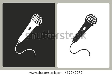 Microphone - black and white icons. Vector illustration.
