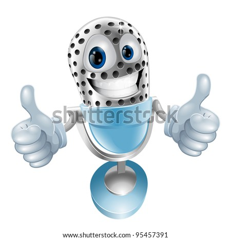 Microphone cartoon character giving double thumbs up  illustration - stock vector