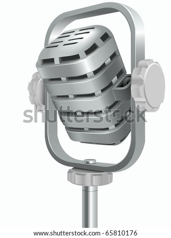 Microphone for translation of songs and words isolated on a white background