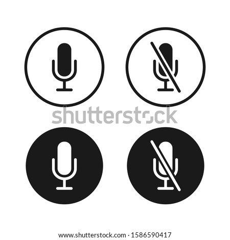 Microphone icon button set. Audio voice recording on/off mute symbol. Flat podcast application interface sign. Vector illustration image. Isolated on white background.