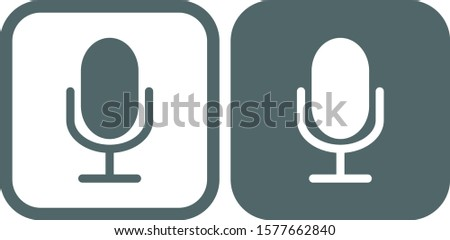 Microphone icon. Microphone symbol. Microphone icon in grey square. Vector illustration