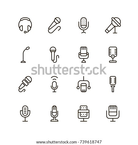Microphone icon set. Collection of high quality outline audio pictograms in modern flat style. Black music symbol for web design and mobile app on white background. Speaker line logo.
