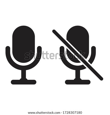 Microphone icon set. Sound mic and mute mic vector illustration. Voice recorder on, off. Simple, classic flat web design. Recording studio symbol.
